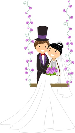 Illustration of a Bride Sitting on a Swing Stock Illustration - 9151185