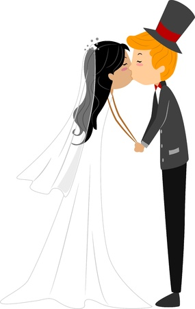 asian wedding couple: Illustration of a Newlywed Couple Sharing a Kiss