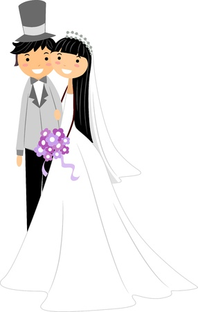 asian wedding couple: Illustration of a Newlywed Asian Couple