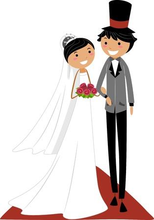 Illustration of an Asian Couple Walking on the Aisle illustration