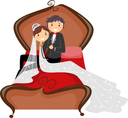 couple in bed: Illustration of a Newlywed Couple Seated in Bed