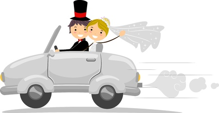 Illustration of a Newlywed Couple Driving Away illustration
