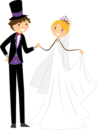 Illustration of a Newlywed Couple Doing a Wedding Dance illustration