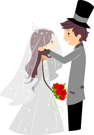 newlyweds: Illustration of a Groom Lifting His Brides Veil