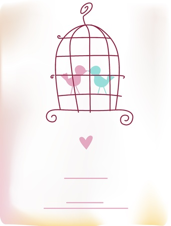lovebirds: Illustration of a Wedding Card Featuring Lovebirds - Gradient Mesh