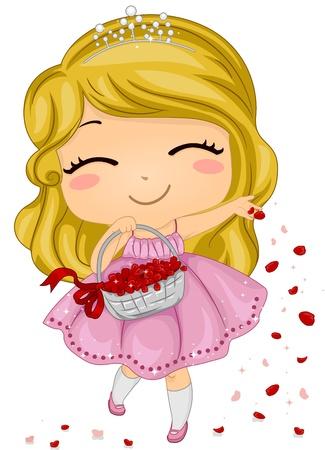 Illustration of a Flower Girl Scattering Petals Stock Illustration - 9209618
