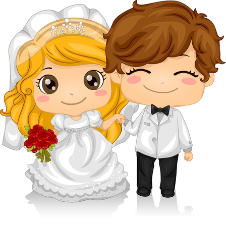marriage cartoon: Illustration of Kids Playing Bride and Groom Stock Photo