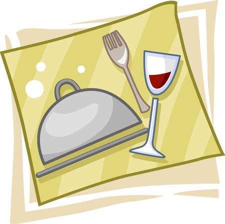 Illustratie van pictogrammen symboliseert Vakspecialiteiten Catering Stockfoto