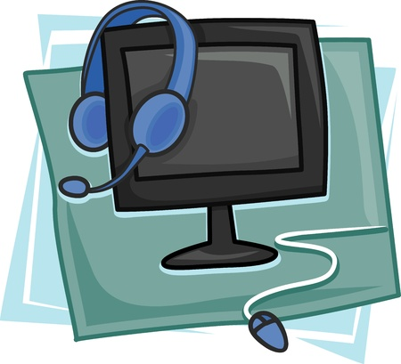 Illustration of Icons Representing the Call Center Industry illustration