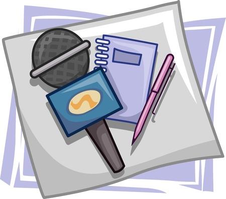 newscaster: Illustration of Icons Representing Mediamen Stock Photo