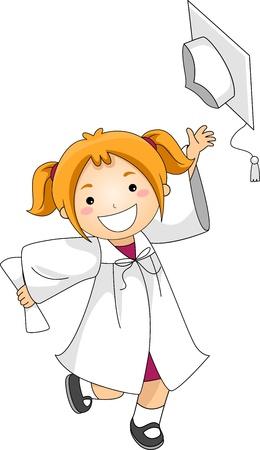 toga: Illustrazione di un bambino gettando il suo Cap di laurea Archivio Fotografico