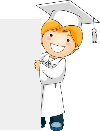 Illustration of a Kid Holding a Banner illustration