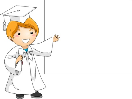 commencement exercises: Illustration of a Kid Presenting a Banner