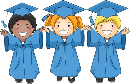 commencement exercises: Illustration of Graduates Jumping Happily Stock Photo
