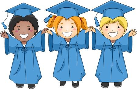 toga: Illustration of Graduates Jumping Happily Stock Photo