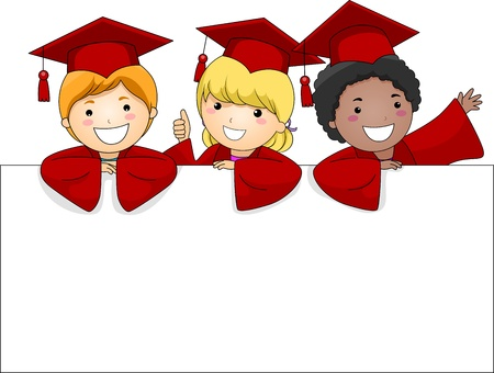 commencement: Illustration of Kids Posing Behing a Large Banner Stock Photo