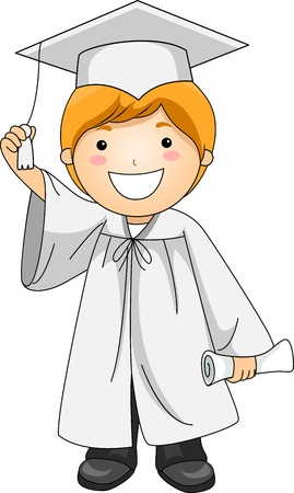 commencement exercises: Illustration of a Kid Holding the Tassle of His Cap