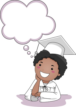 event planning: Illustration of a Little Boy Thinking