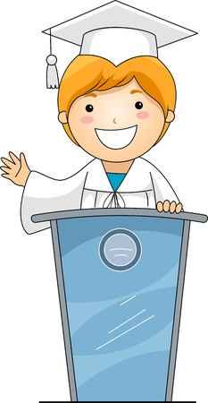 clipart podium: Illustration of a Kid Giving a Speech