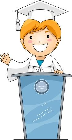 toga: Illustrazione di un bambino, dando un discorso