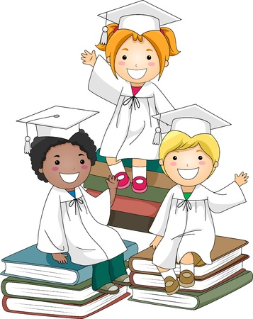 cap and gown: Illustration of Kids Sitting on a Pile of Books