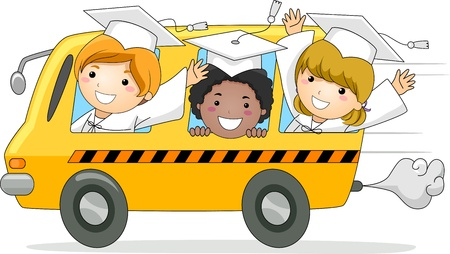 commencement exercises: Illustration of Kids Driving Away in a School Bus