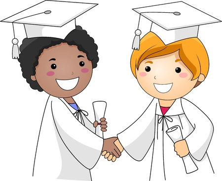 commencement exercises: Illustration of Kids Congratulating Each Other