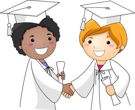 toga: Illustrazione di ragazzi congratulandosi con ogni altro