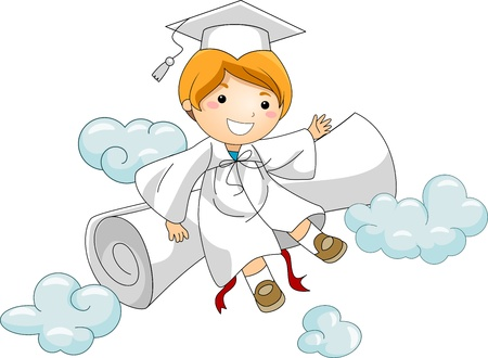 commencement exercises: Illustration of a Kid Resting Against His Diploma Stock Photo