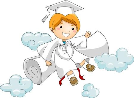 toga: Illustrazione di un ragazzino di riposo contro il suo Diploma Archivio Fotografico