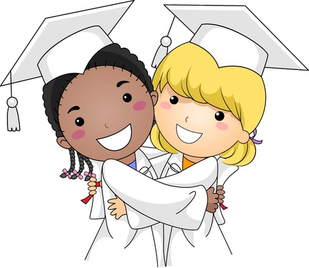 cap and gown: Illustration of Kids Hugging Each Other