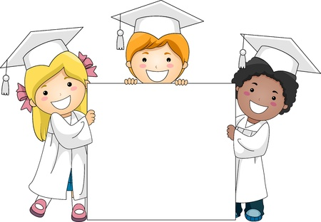 commencement exercises: Illustration of Kids Holding a Banner