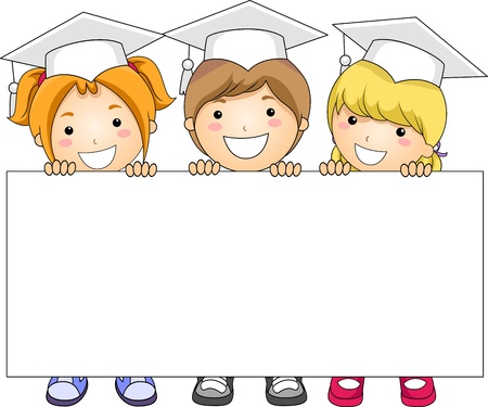 cartoon graduation: Illustration of Kids Holding a Banner