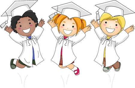 commencement exercises: Illustration of Kids Jumping Happily Stock Photo
