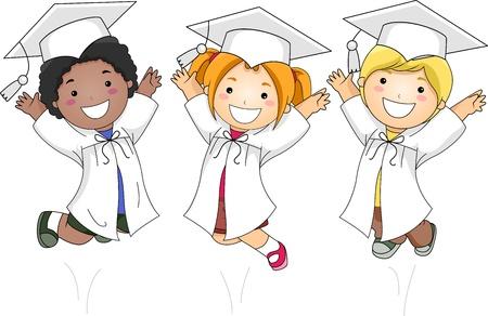 toga: Illustration of Kids Jumping Happily Stock Photo