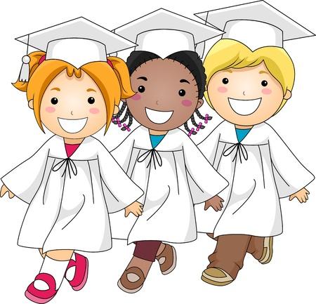 toga: Illustrazione dei bambini facendo la marcia di laurea