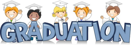 commencement exercises: Illustration of Kids Standing Behind the Word Graduation