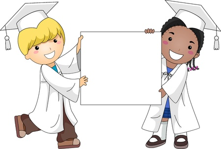 commencement exercises: Illustration of Kids Holding a Blank Banner Stock Photo