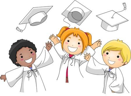 gorros de graduacion: Ilustraci�n de ni�os lanzando sus gorras de graduaci�n en el aire