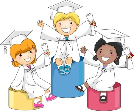 commencement: Illustration of Kids Sitting on Boxes of Different Heights Stock Photo