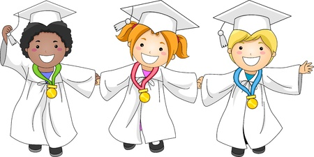 commencement exercises: Illustration of Kids Decorated with Medals Stock Photo