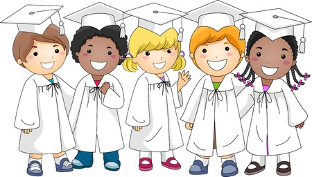 commencement exercises: Illustration of a Group of Kids Wearing Graduation Attire