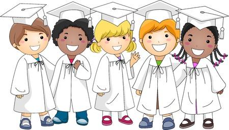 Illustration of a Group of Kids Wearing Graduation Attire Stock Illustration - 9256842