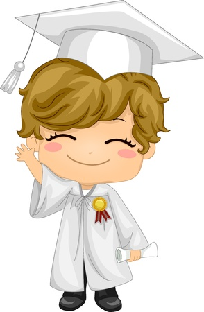commencement exercises: Illustration of a Kid Waving and Wearing Graduation Attire Stock Photo