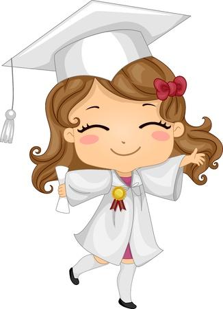 graduacion escolar: Ilustraci�n de un ni�o con atuendo de graduaci�n