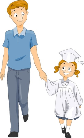 commencement: Illustration of a Father Accompanying His Little Graduate Stock Photo