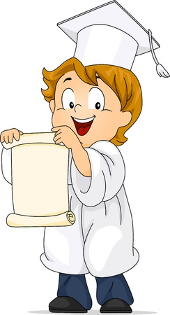 Illustration of a Kid Unfolding His Diploma illustration
