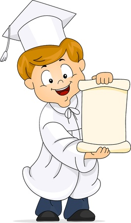 unfold: Illustration of a Kid Unfolding His Diploma