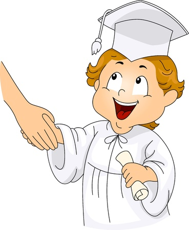 commencement exercises: Illustration of a Little Graduate Shaking Hands with his Teacher Stock Photo