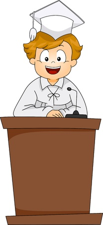 clipart podium: Illustration of a Kid Giving a Graduation Speech